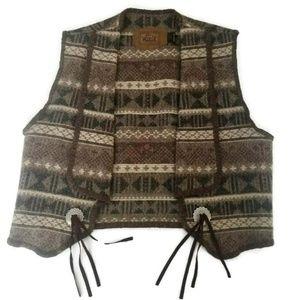 Womens L Woolrich Navajo Wool Vest Conch Wool Vest